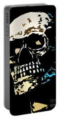 Skull Against A Dark Background Portable Battery Charger