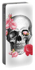 Skull With Pink Roses Framed Art Print Portable Battery Charger