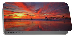 Sky On Fire At The Imperial Beach Pier Portable Battery Charger