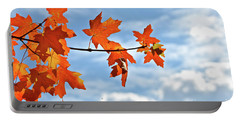 Sky View With Autumn Maple Leaves Portable Battery Charger