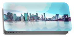 Skyline Of New York City, United States In Blues Portable Battery Charger