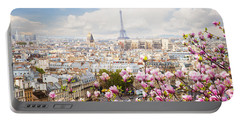 skyline of Paris with eiffel tower Portable Battery Charger by Anastasy Yarmolovich