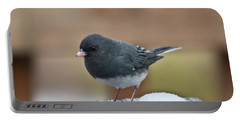 Slate Junco Feeding In Snow Portable Battery Charger