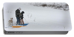 Sledding Portable Battery Charger by Denise Romano
