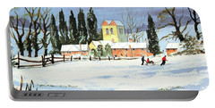 Sledding With Dad Portable Battery Charger by Bill Holkham