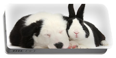 Sleeping In Black And White Portable Battery Charger
