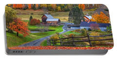 Sleepy Hollows Farm Woodstock Vermont Vt Autumn Bright Colors Portable Battery Charger