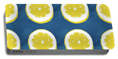 Sliced Lemons On Blue- Art By Linda Woods Portable Battery Charger by Linda Woods