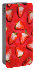Sliced Red Strawberry Background Portable Battery Charger