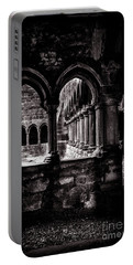 Portable Battery Charger featuring the photograph Sligo Abbey Interior Bw by RicardMN Photography