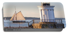 Sloop And Lighthouse, South Portland, Maine  -56170 Portable Battery Charger