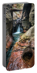 Slot Canyon Waterfall At Zion National Park Portable Battery Charger