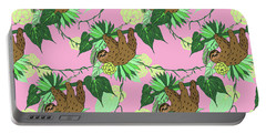 Sloth - Green On Pink Portable Battery Charger