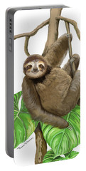 Sloth Hanging Around Portable Battery Charger by Thomas J Herring