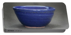 Small Blue Ceramic Bowl Portable Battery Charger by Suzanne Gaff