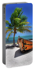 Small Boat And Palm Tree On White Sandy Beach In The Florida Keys Portable Battery Charger