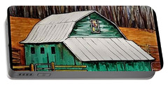 Small Green Barn With Quilted Window Portable Battery Charger by Jim Harris