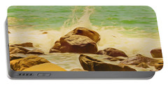 Small Ocean Waves,large Rocks. Portable Battery Charger