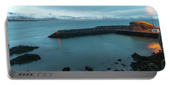 Portable Battery Charger featuring the photograph Small Port Near Snaefellsjokull Mountain, Iceland by Dubi Roman