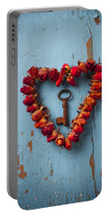 Small Rose Heart Wreath With Key Portable Battery Charger