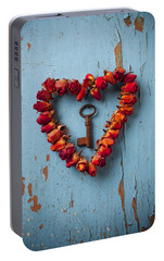 Small Rose Heart Wreath With Key Portable Battery Charger by Garry Gay