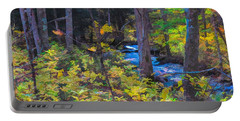 Small Stream Through Autumn Woods Portable Battery Charger