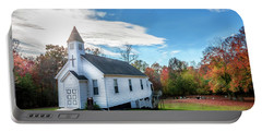 Small Wooden Church In The Countryside During Autumn Portable Battery Charger