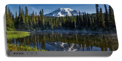 Misty Morning At Reflection Lake Portable Battery Charger