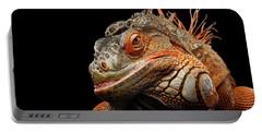 smiling Orange iguana isolated on black  Portable Battery Charger