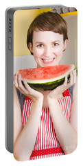 Smiling Young Woman Eating Fresh Fruit Watermelon Portable Battery Charger