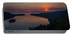 Smoke-diffused Sun At Emerald Bay Portable Battery Charger