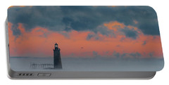 Smokey Sunrise At Ram Island Ledge Light Portable Battery Charger