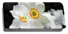 Smokey White Floral Portable Battery Charger