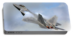 Portable Battery Charger featuring the digital art Smokin - F22 Raptor On The Go by Pat Speirs