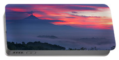 Portable Battery Charger featuring the photograph Smoking Volcano And Borobudur Temple by Pradeep Raja Prints