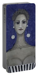 Smoking Woman 3 - Blue Portable Battery Charger