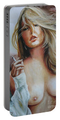 Smoking Woman Portable Battery Charger