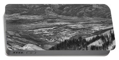 Snake Creek Pass Valley Views Black And White Portable Battery Charger