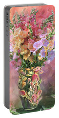 Portable Battery Charger featuring the mixed media Snapdragons In Snapdragon Vase by Carol Cavalaris