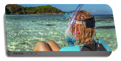 Snorkeler Relaxing On Tropical Beach Portable Battery Charger