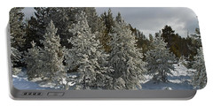 Snow And Ice Covered Evergreens At Sunset Lake  Portable Battery Charger