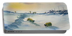 Snow And Sheep On The Moors Portable Battery Charger