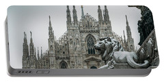 Snow At Milan's Duomo Cathedral  Portable Battery Charger