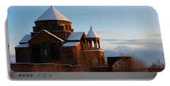 Snow Capped St. Hripsipe Church At Winter, Armenia Portable Battery Charger