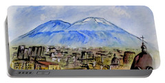 Portable Battery Charger featuring the painting Snow Capped Vesuvio by Clyde J Kell