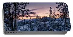 Snow Coved Trees And Sunset Portable Battery Charger
