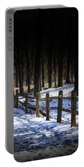 Portable Battery Charger featuring the digital art Snow Covered Bridge by Kim Henderson
