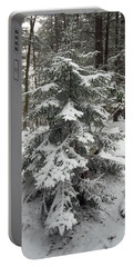 Snow Covered Evergreen Portable Battery Charger
