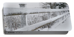 Snow Covered Fence Portable Battery Charger by Helen Northcott