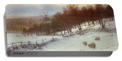 Snow Covered Fields With Sheep Portable Battery Charger